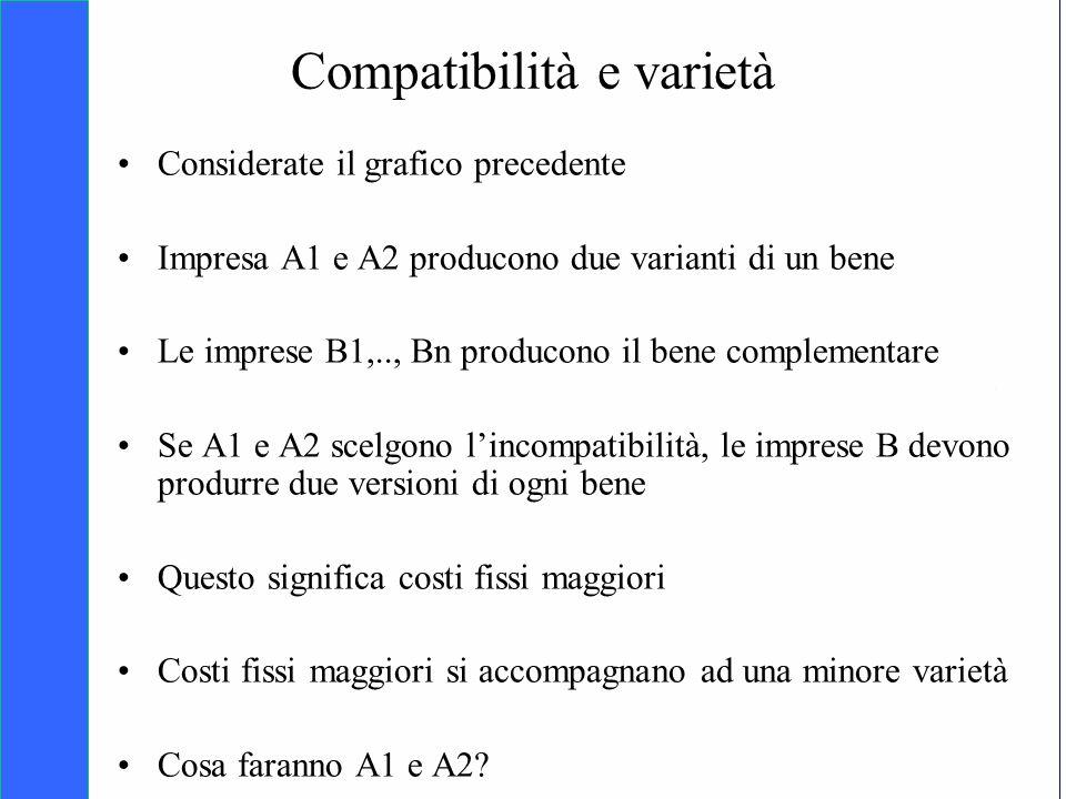 Copyright SDA Bocconi 2005 Competing Technologies, Network Externalities …n 29 Compatibilità e varietà Considerate il grafico precedente Impresa A1 e