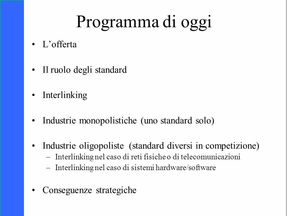 Copyright SDA Bocconi 2005 Competing Technologies, Network Externalities …n 3 Programma di oggi Lofferta Il ruolo degli standard Interlinking Industri