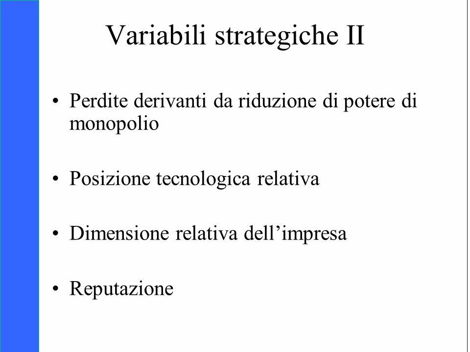 Copyright SDA Bocconi 2005 Competing Technologies, Network Externalities …n 31 Variabili strategiche II Perdite derivanti da riduzione di potere di mo