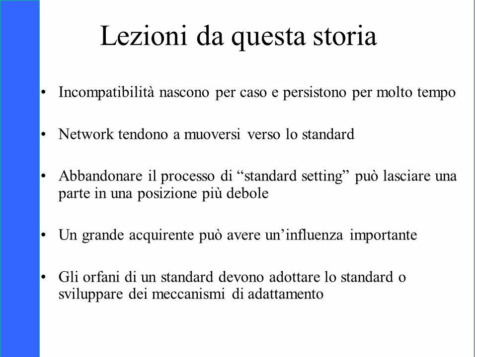 Copyright SDA Bocconi 2005 Competing Technologies, Network Externalities …n 33 Lezioni da questa storia Incompatibilità nascono per caso e persistono