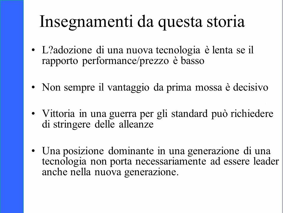 Copyright SDA Bocconi 2005 Competing Technologies, Network Externalities …n 36 Insegnamenti da questa storia L?adozione di una nuova tecnologia è lent
