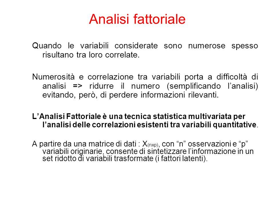 Analisi fattoriale Quando le variabili considerate sono numerose spesso risultano tra loro correlate. Numerosità e correlazione tra variabili porta a