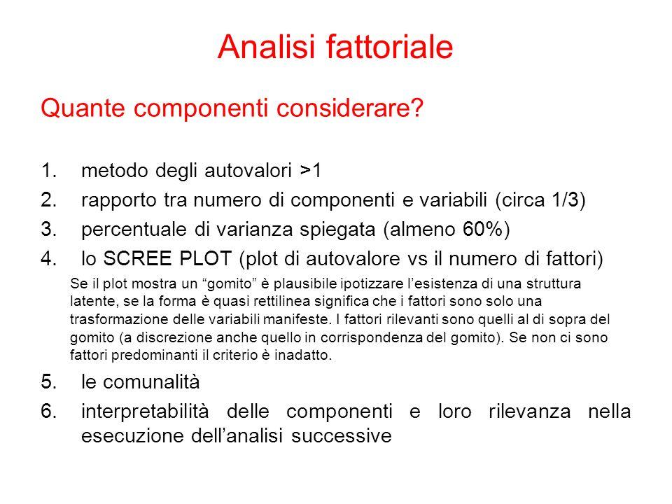 Quante componenti considerare? 1.metodo degli autovalori >1 2.rapporto tra numero di componenti e variabili (circa 1/3) 3.percentuale di varianza spie