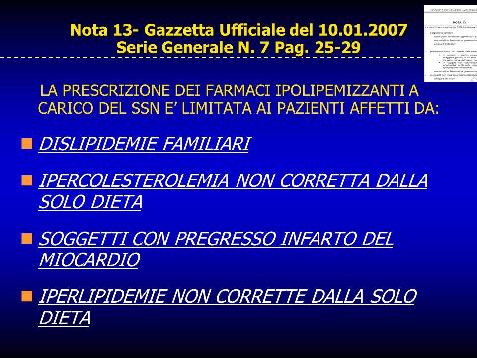 Nota 13- Gazzetta Ufficiale del 10.01.2007 Serie Generale N. 7 Pag. 25-29 LA PRESCRIZIONE DEI FARMACI IPOLIPEMIZZANTI A CARICO DEL SSN E LIMITATA AI P