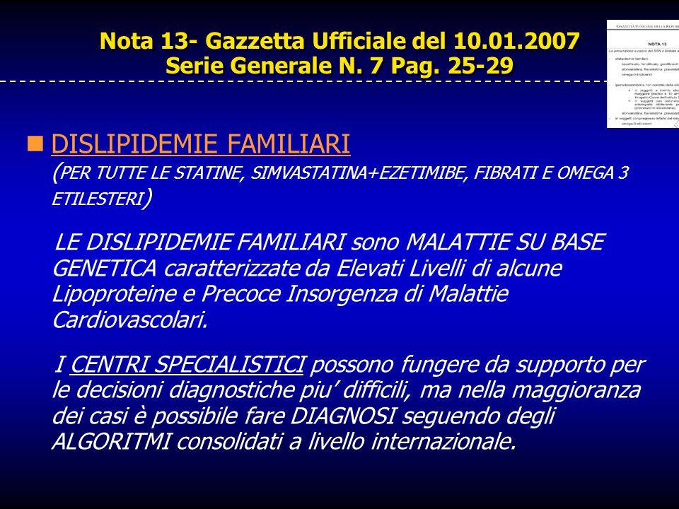 Nota 13- Gazzetta Ufficiale del 10.01.2007 Serie Generale N. 7 Pag. 25-29 DISLIPIDEMIE FAMILIARI ( PER TUTTE LE STATINE, SIMVASTATINA+EZETIMIBE, FIBRA