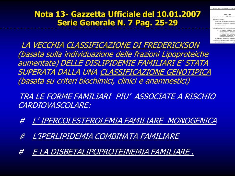 Nota 13- Gazzetta Ufficiale del 10.01.2007 Serie Generale N. 7 Pag. 25-29 LA VECCHIA CLASSIFICAZIONE DI FREDERICKSON (basata sulla individuazione dell