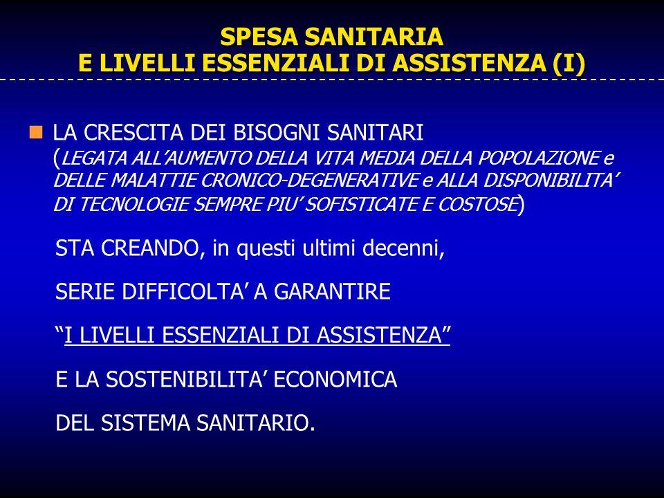 SPESA SANITARIA E LIVELLI ESSENZIALI DI ASSISTENZA (I) LA CRESCITA DEI BISOGNI SANITARI ( LEGATA ALLAUMENTO DELLA VITA MEDIA DELLA POPOLAZIONE e DELLE