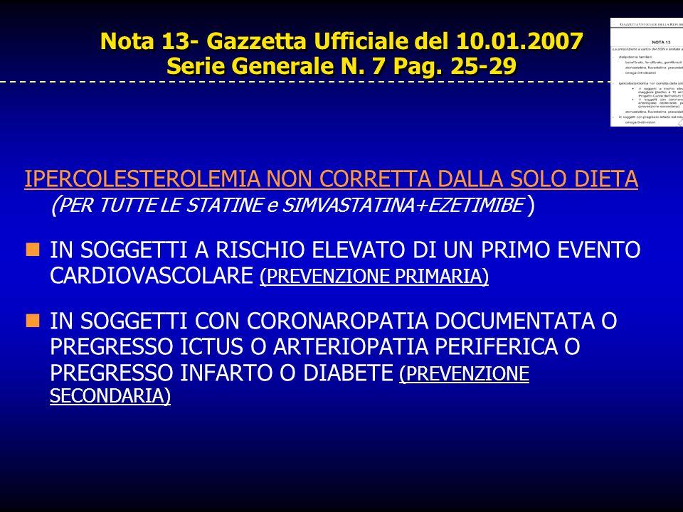 Nota 13- Gazzetta Ufficiale del 10.01.2007 Serie Generale N. 7 Pag. 25-29 IPERCOLESTEROLEMIA NON CORRETTA DALLA SOLO DIETA ( PER TUTTE LE STATINE e SI