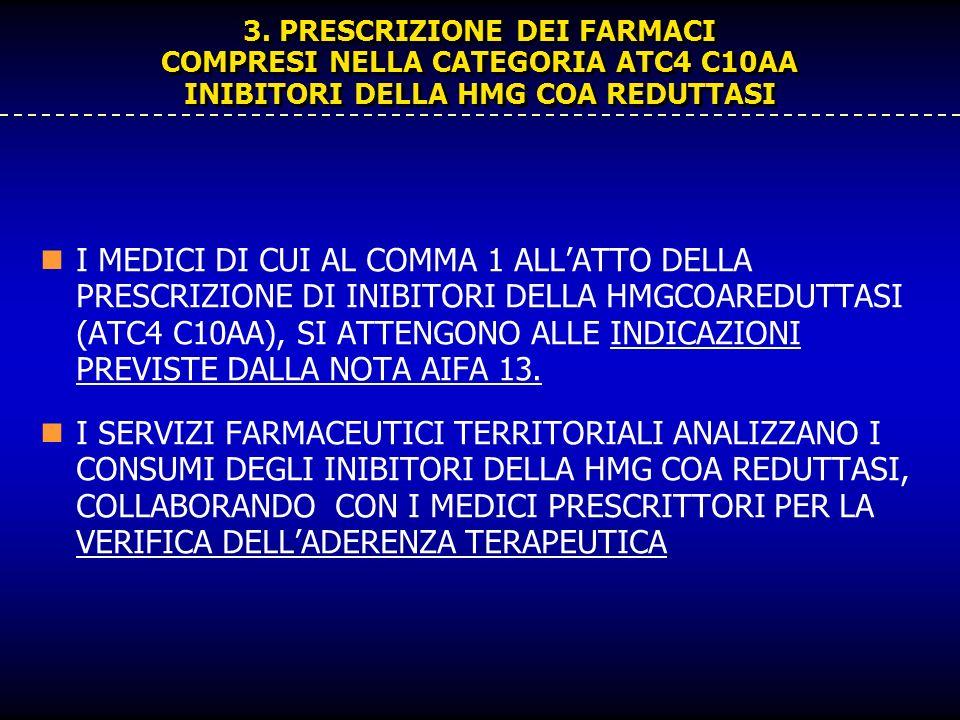 3. PRESCRIZIONE DEI FARMACI COMPRESI NELLA CATEGORIA ATC4 C10AA INIBITORI DELLA HMG COA REDUTTASI I MEDICI DI CUI AL COMMA 1 ALLATTO DELLA PRESCRIZION