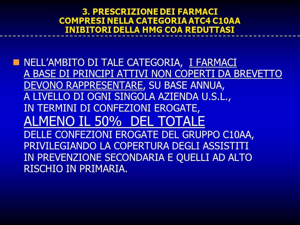 3. PRESCRIZIONE DEI FARMACI COMPRESI NELLA CATEGORIA ATC4 C10AA INIBITORI DELLA HMG COA REDUTTASI NELLAMBITO DI TALE CATEGORIA, I FARMACI A BASE DI PR