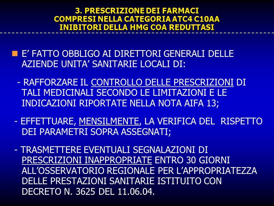 3. PRESCRIZIONE DEI FARMACI COMPRESI NELLA CATEGORIA ATC4 C10AA INIBITORI DELLA HMG COA REDUTTASI E FATTO OBBLIGO AI DIRETTORI GENERALI DELLE AZIENDE