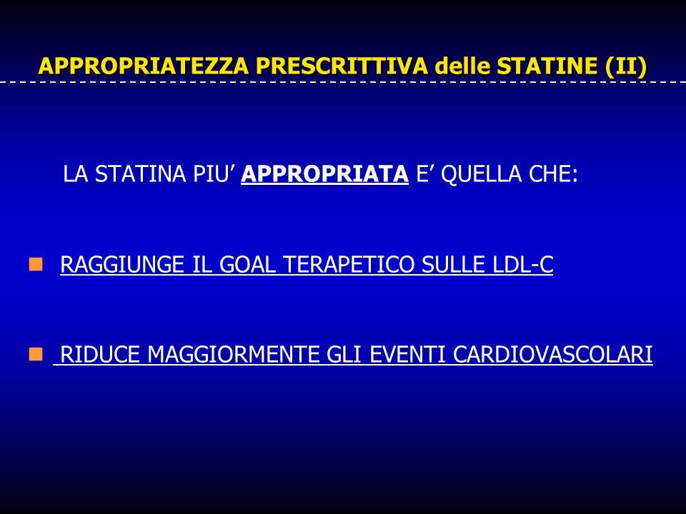 APPROPRIATEZZA PRESCRITTIVA delle STATINE (II) LA STATINA PIU APPROPRIATA E QUELLA CHE: RAGGIUNGE IL GOAL TERAPETICO SULLE LDL-C RIDUCE MAGGIORMENTE G