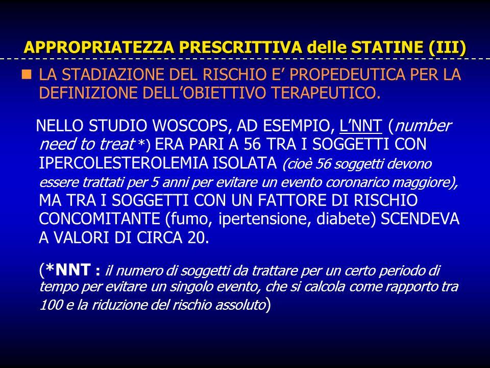 APPROPRIATEZZA PRESCRITTIVA delle STATINE (III) LA STADIAZIONE DEL RISCHIO E PROPEDEUTICA PER LA DEFINIZIONE DELLOBIETTIVO TERAPEUTICO. NELLO STUDIO W