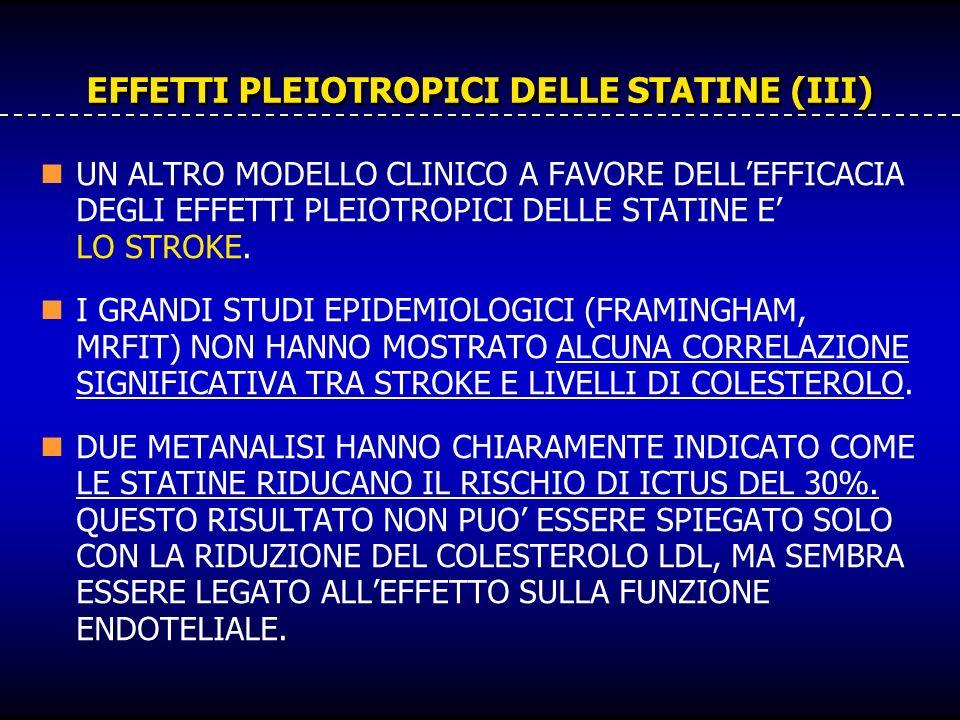 EFFETTI PLEIOTROPICI DELLE STATINE (III) UN ALTRO MODELLO CLINICO A FAVORE DELLEFFICACIA DEGLI EFFETTI PLEIOTROPICI DELLE STATINE E LO STROKE. I GRAND