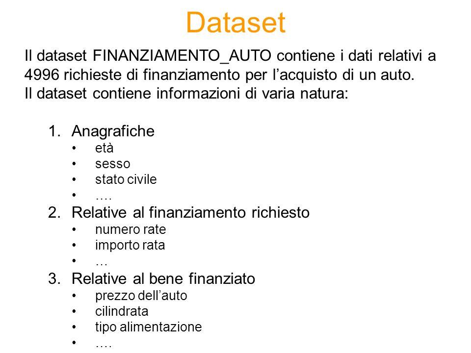 Dataset Il dataset FINANZIAMENTO_AUTO contiene i dati relativi a 4996 richieste di finanziamento per lacquisto di un auto. Il dataset contiene informa