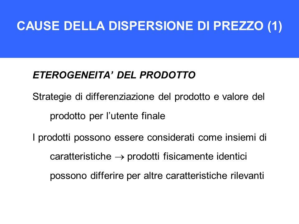 CAUSE DELLA DISPERSIONE DI PREZZO (1) ETEROGENEITA DEL PRODOTTO Strategie di differenziazione del prodotto e valore del prodotto per lutente finale I
