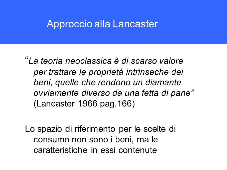 Approccio alla Lancaster La teoria neoclassica è di scarso valore per trattare le proprietà intrinseche dei beni, quelle che rendono un diamante ovvia
