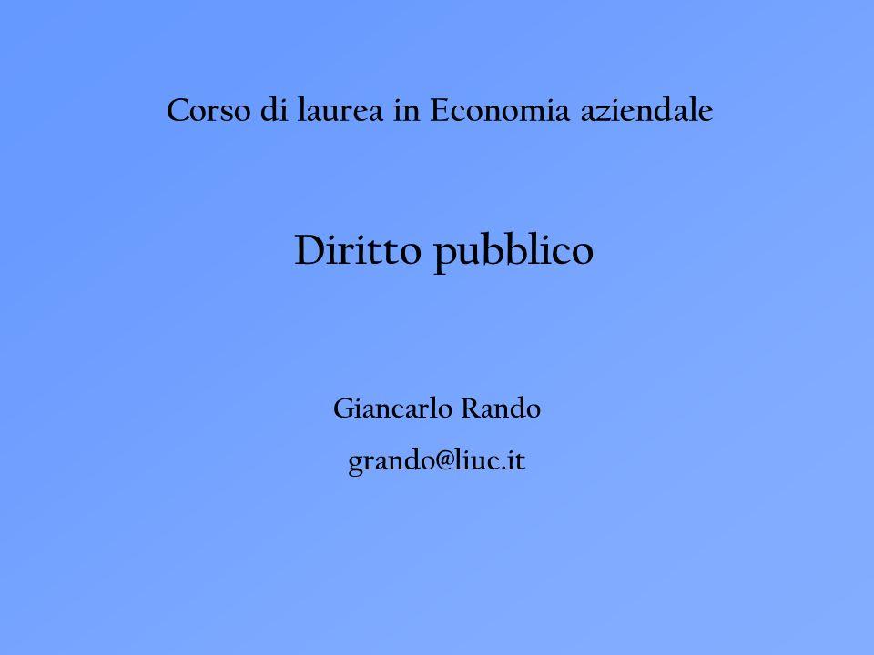 Corso di laurea in Economia aziendale Diritto pubblico Giancarlo Rando grando@liuc.it