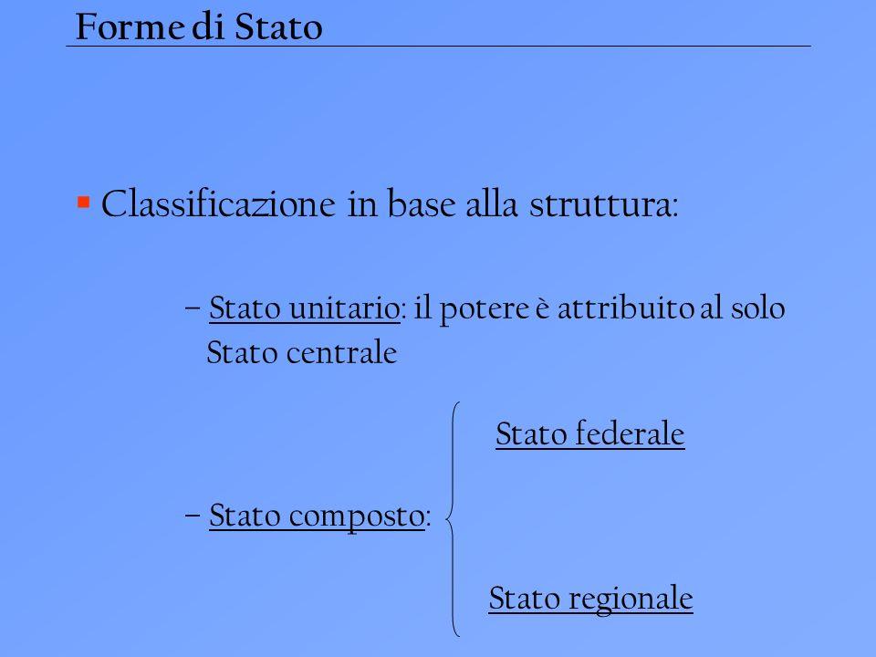 Forme di Stato Classificazione in base alla struttura: – Stato unitario: il potere è attribuito al solo Stato centrale – Stato composto: Stato federal