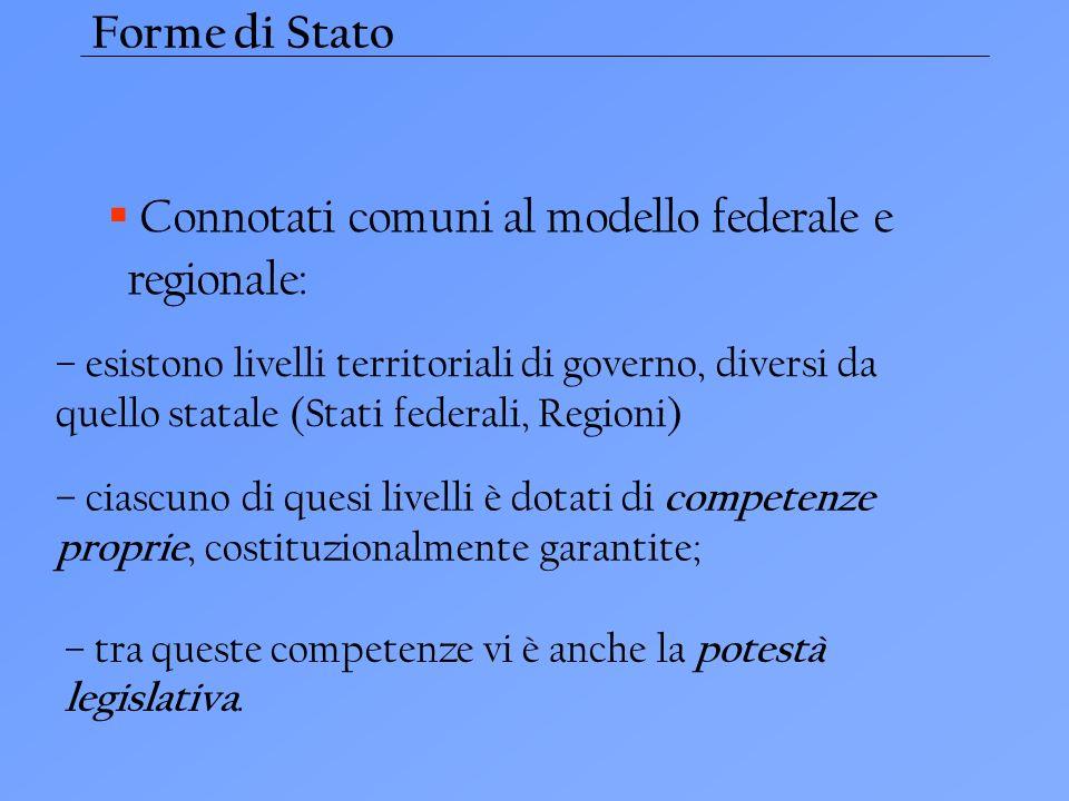 Forme di Stato Connotati comuni al modello federale e regionale: – esistono livelli territoriali di governo, diversi da quello statale (Stati federali
