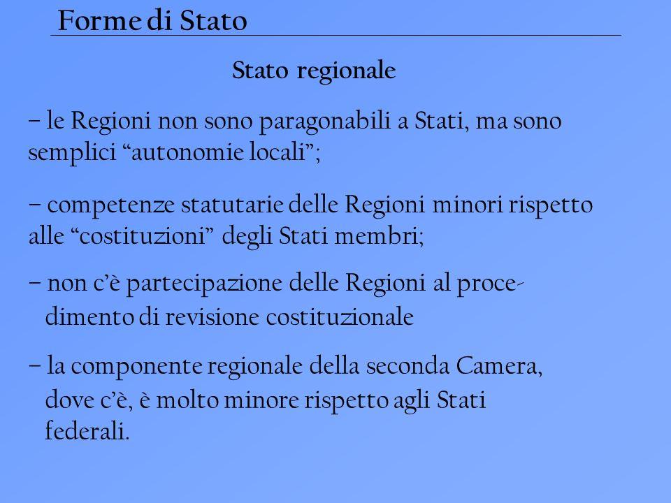 Forme di Stato Stato regionale – le Regioni non sono paragonabili a Stati, ma sono semplici autonomie locali; – competenze statutarie delle Regioni mi
