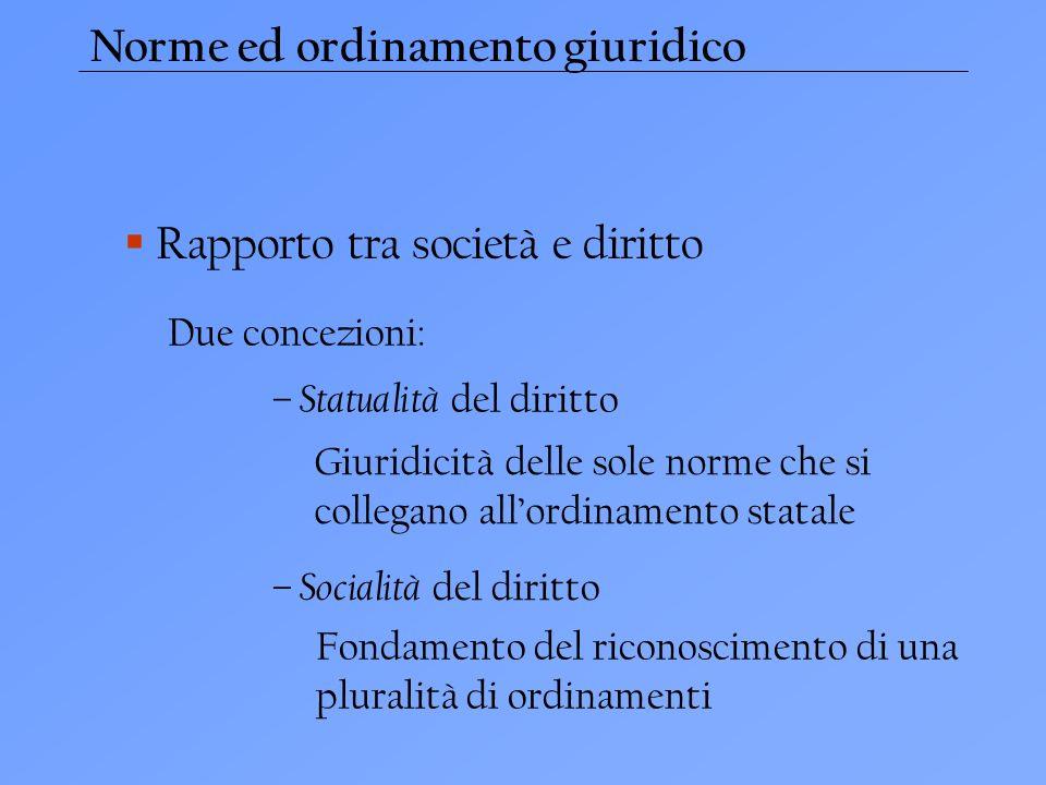 Norme ed ordinamento giuridico Rapporto tra società e diritto – Statualità del diritto Due concezioni: – Socialità del diritto Giuridicità delle sole