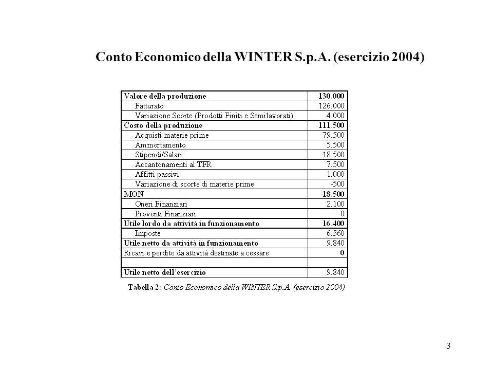 3 Conto Economico della WINTER S.p.A. (esercizio 2004)