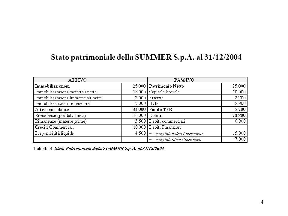 4 Stato patrimoniale della SUMMER S.p.A. al 31/12/2004