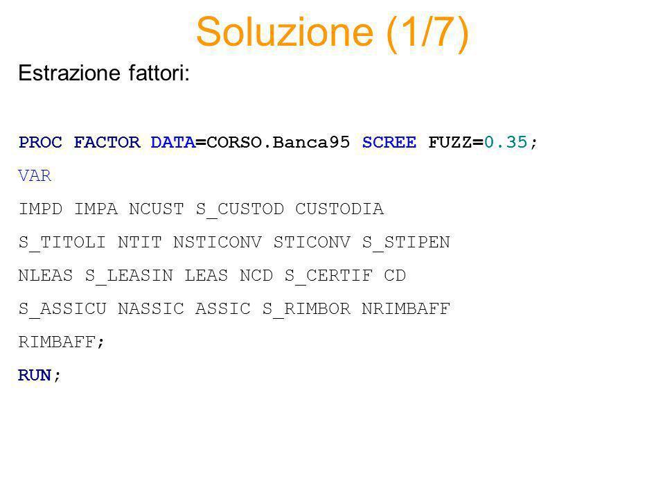 Soluzione (1/7) PROC FACTOR DATA=CORSO.Banca95 SCREE FUZZ=0.35; VAR IMPD IMPA NCUST S_CUSTOD CUSTODIA S_TITOLI NTIT NSTICONV STICONV S_STIPEN NLEAS S_LEASIN LEAS NCD S_CERTIF CD S_ASSICU NASSIC ASSIC S_RIMBOR NRIMBAFF RIMBAFF; RUN; Estrazione fattori: