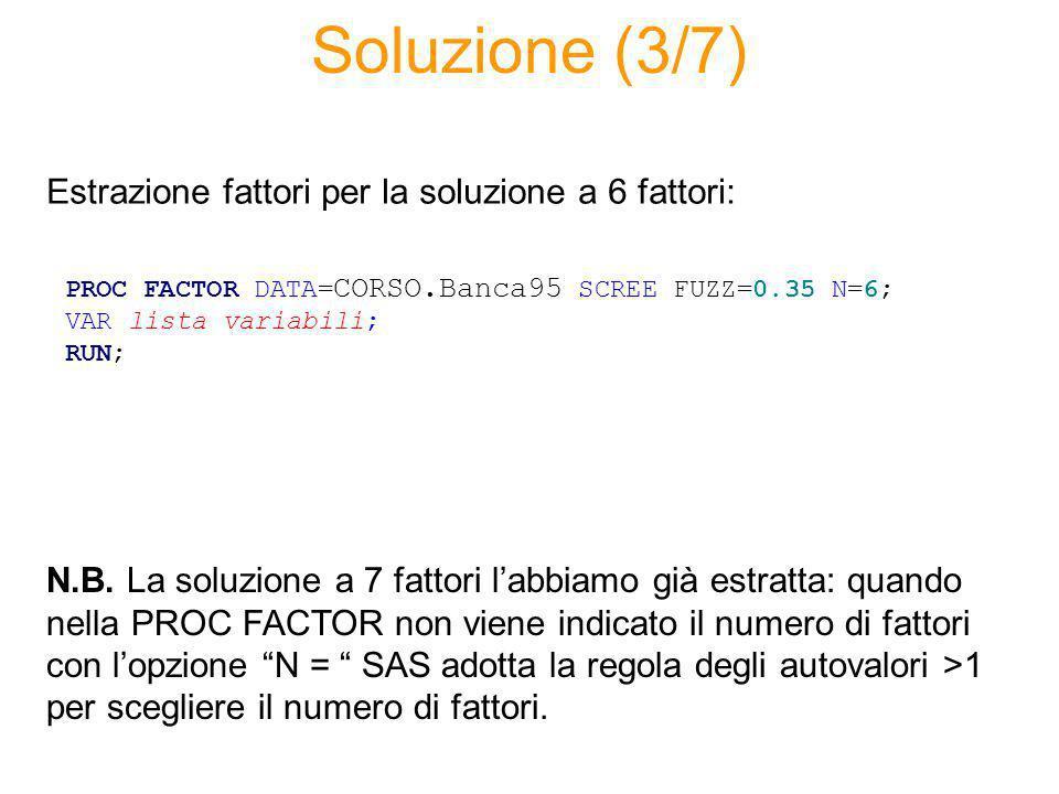Soluzione (4/7) La soluzione a 7 sarebbe motivata dal recupero di capacità esplicativa su due variabili molto importanti.