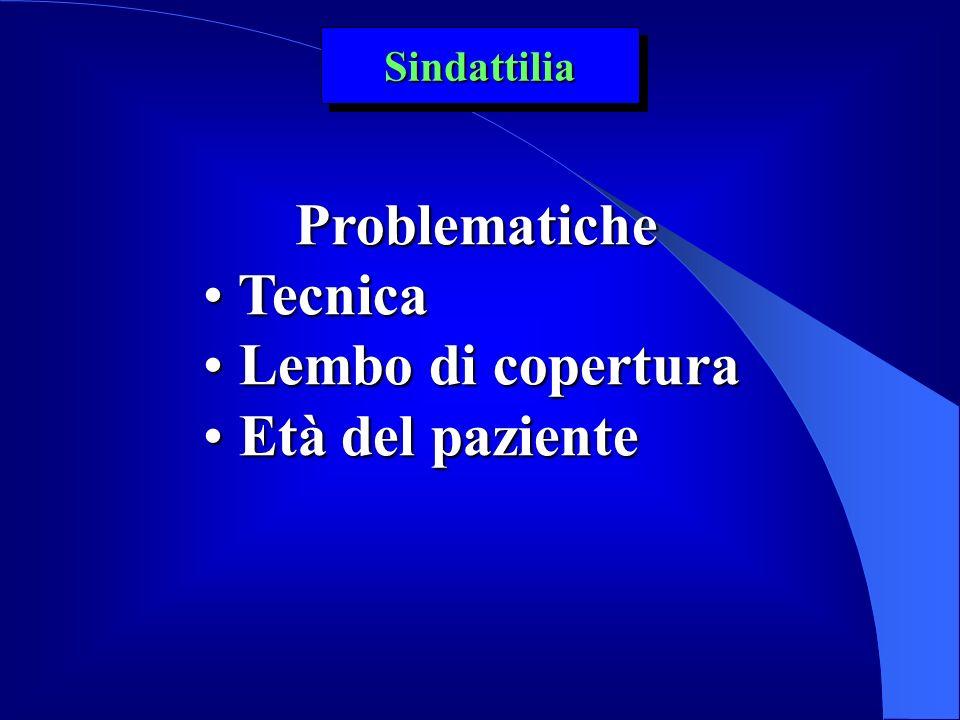 Problematiche Tecnica Tecnica Lembo di copertura Lembo di copertura Età del paziente Età del paziente