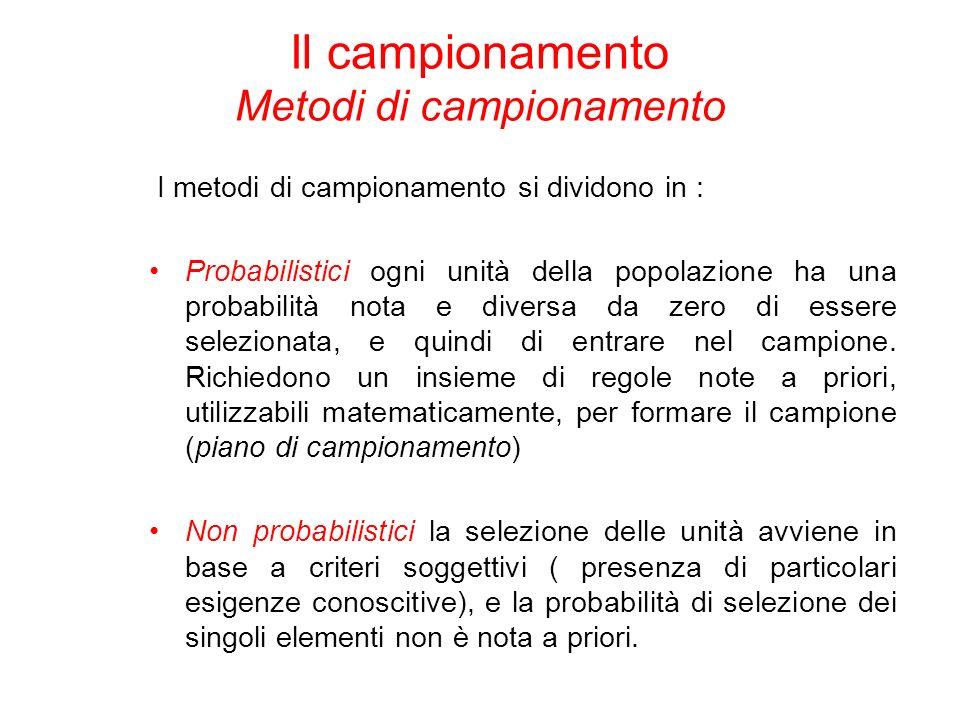 I metodi di campionamento si dividono in : Probabilistici ogni unità della popolazione ha una probabilità nota e diversa da zero di essere selezionata