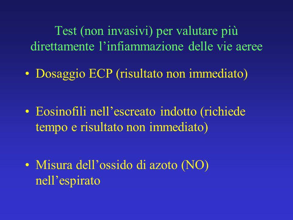 Test (non invasivi) per valutare più direttamente linfiammazione delle vie aeree Dosaggio ECP (risultato non immediato) Eosinofili nellescreato indotto (richiede tempo e risultato non immediato) Misura dellossido di azoto (NO) nellespirato
