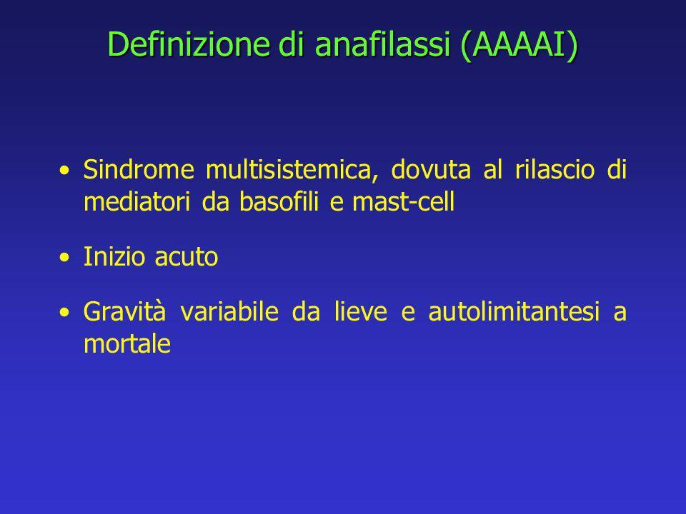 Definizione di anafilassi (AAAAI) Sindrome multisistemica, dovuta al rilascio di mediatori da basofili e mast-cell Inizio acuto Gravità variabile da lieve e autolimitantesi a mortale
