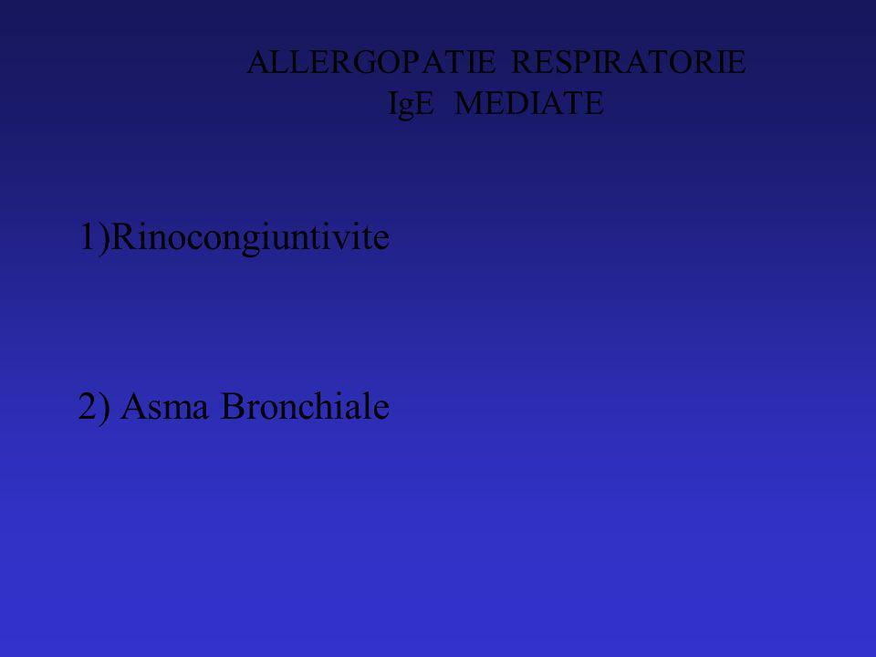 ALLERGOPATIE RESPIRATORIE IgE MEDIATE 1)Rinocongiuntivite 2) Asma Bronchiale