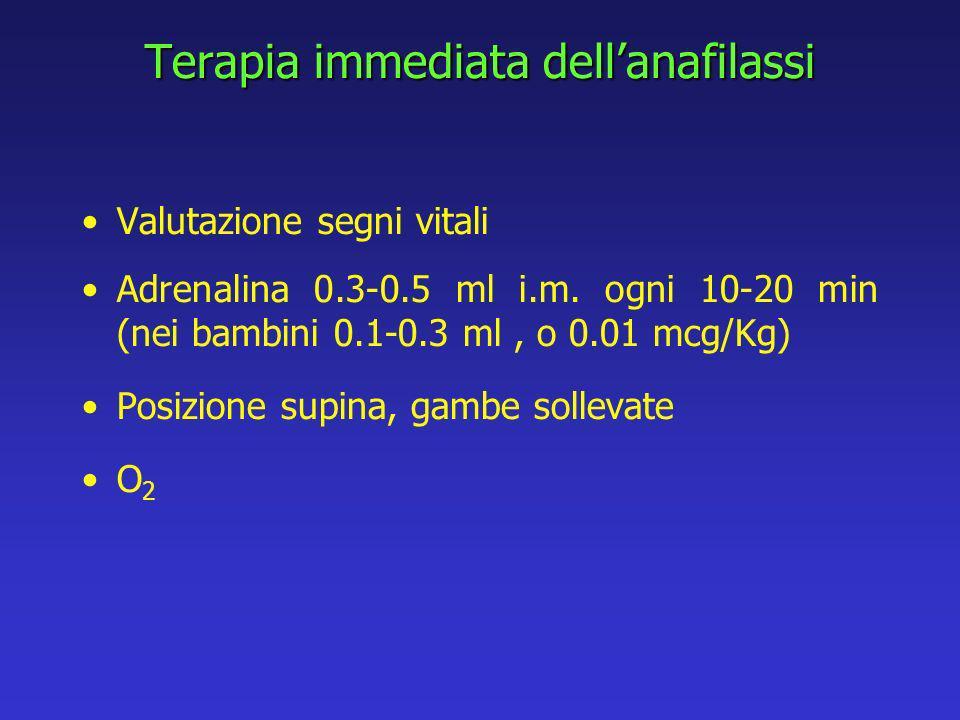 Terapia immediata dellanafilassi Valutazione segni vitali Adrenalina 0.3-0.5 ml i.m.