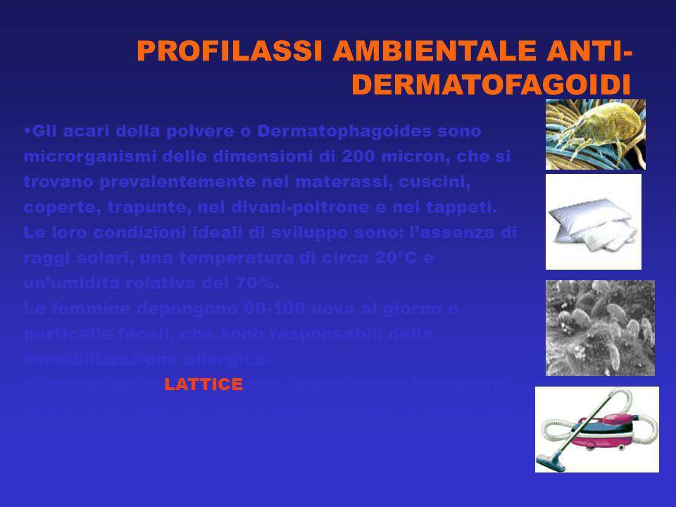 Gli acari della polvere o Dermatophagoides sono microrganismi delle dimensioni di 200 micron, che si trovano prevalentemente nei materassi, cuscini, coperte, trapunte, nei divani-poltrone e nei tappeti.