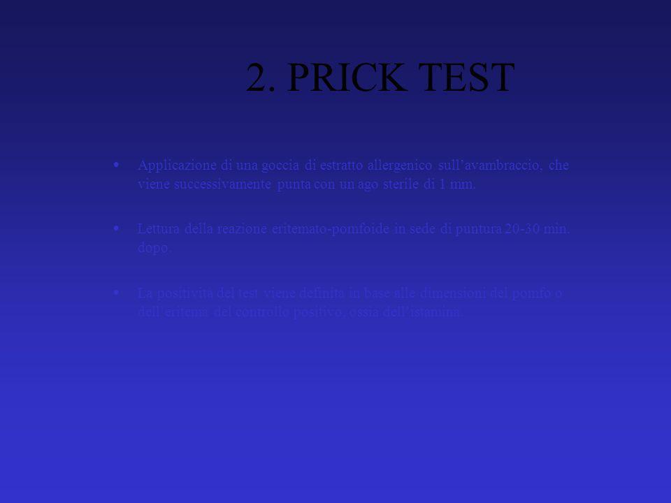 2. PRICK TEST Applicazione di una goccia di estratto allergenico sullavambraccio, che viene successivamente punta con un ago sterile di 1 mm. Lettura