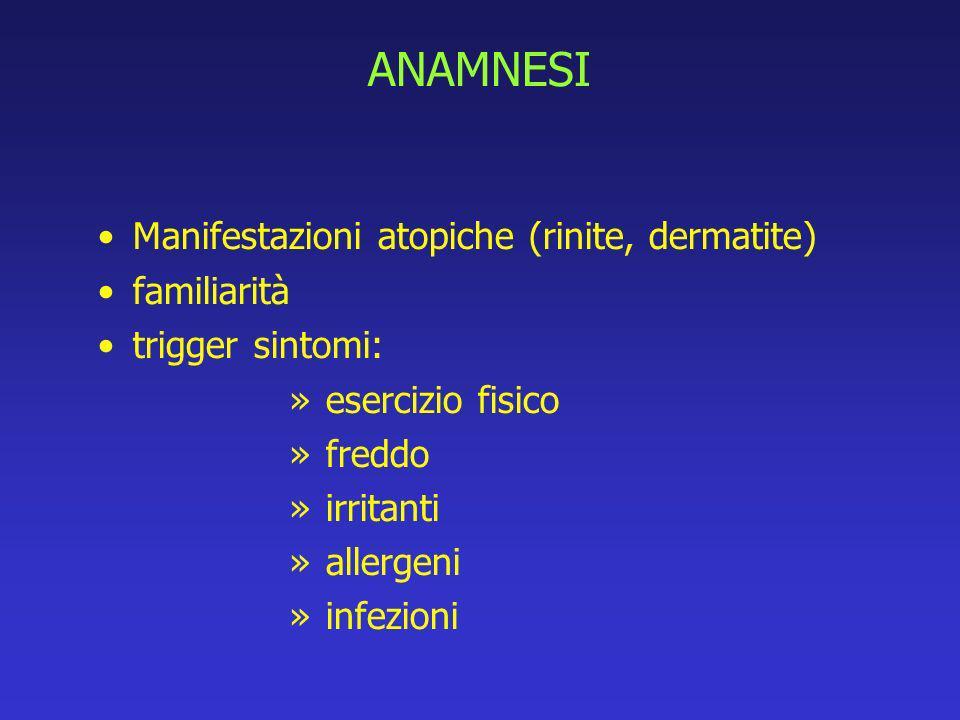 ANAMNESI Manifestazioni atopiche (rinite, dermatite) familiarità trigger sintomi: » esercizio fisico » freddo » irritanti » allergeni » infezioni