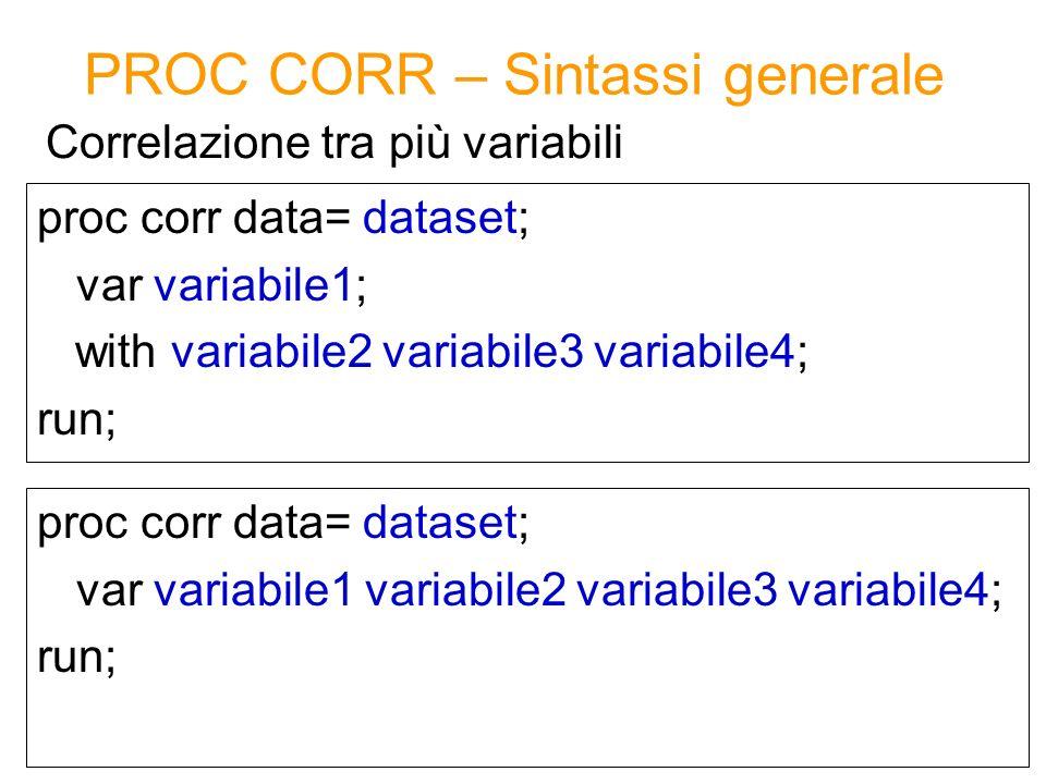 PROC CORR – Sintassi generale proc corr data= dataset; var variabile1; with variabile2 variabile3 variabile4; run; Correlazione tra più variabili proc