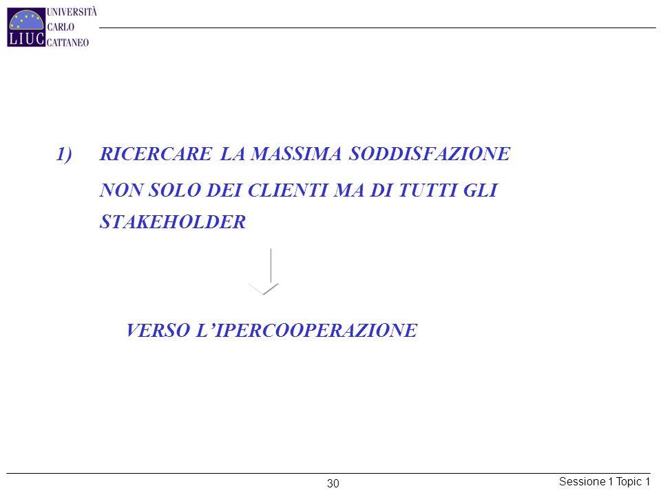 Sessione 1 Topic 1 30 1)RICERCARE LA MASSIMA SODDISFAZIONE NON SOLO DEI CLIENTI MA DI TUTTI GLI STAKEHOLDER VERSO LIPERCOOPERAZIONE