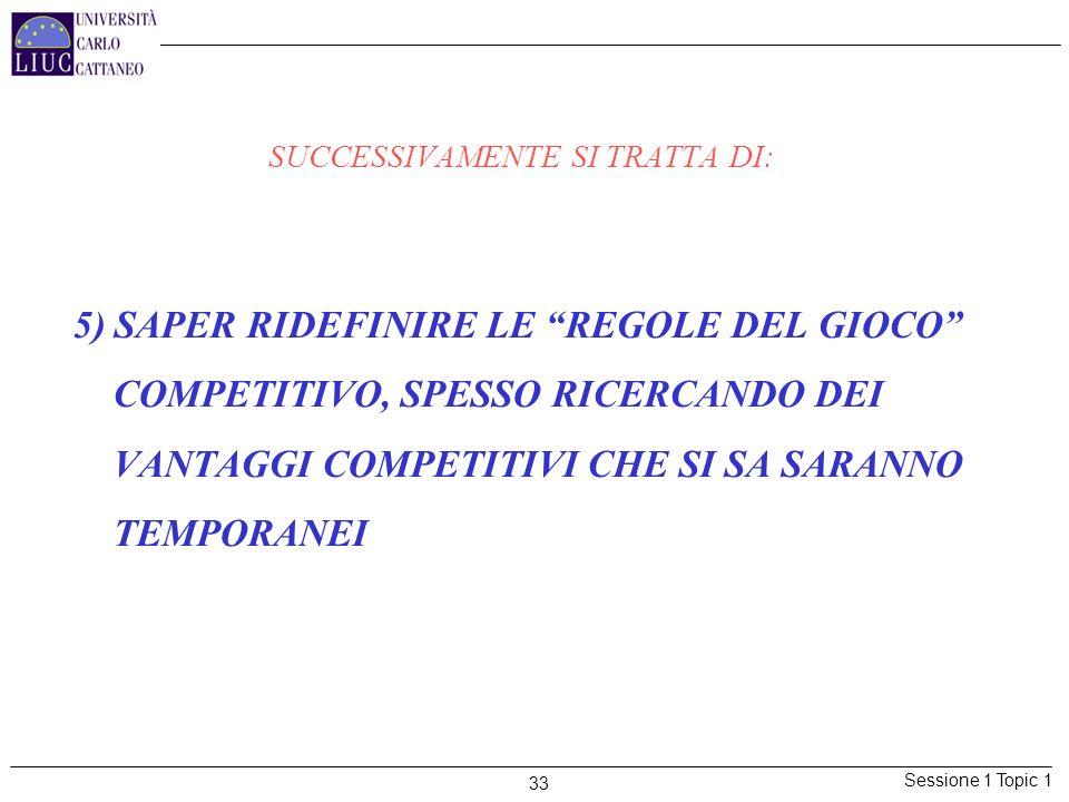 Sessione 1 Topic 1 33 SUCCESSIVAMENTE SI TRATTA DI: 5) SAPER RIDEFINIRE LE REGOLE DEL GIOCO COMPETITIVO, SPESSO RICERCANDO DEI VANTAGGI COMPETITIVI CH