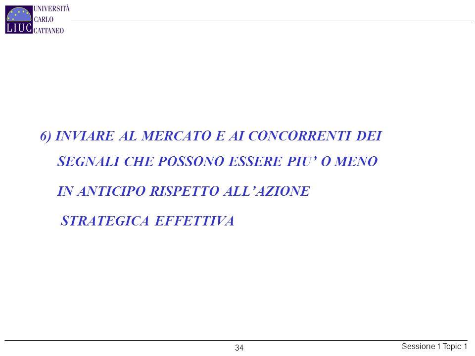 Sessione 1 Topic 1 34 6) INVIARE AL MERCATO E AI CONCORRENTI DEI SEGNALI CHE POSSONO ESSERE PIU O MENO IN ANTICIPO RISPETTO ALLAZIONE STRATEGICA EFFET