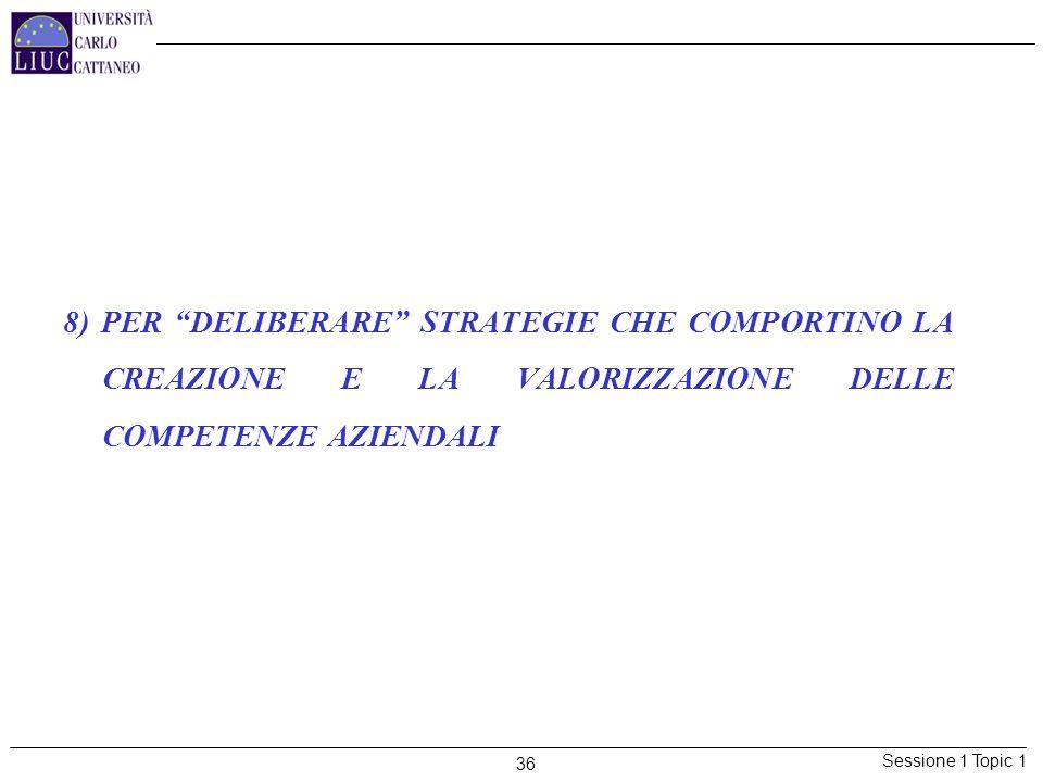 Sessione 1 Topic 1 36 8) PER DELIBERARE STRATEGIE CHE COMPORTINO LA CREAZIONE E LA VALORIZZAZIONE DELLE COMPETENZE AZIENDALI