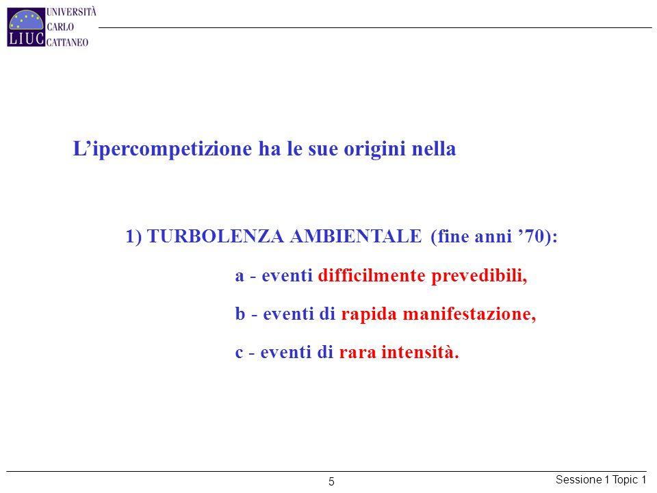 Sessione 1 Topic 1 5 Lipercompetizione ha le sue origini nella 1) TURBOLENZA AMBIENTALE (fine anni 70): a - eventi difficilmente prevedibili, b - even