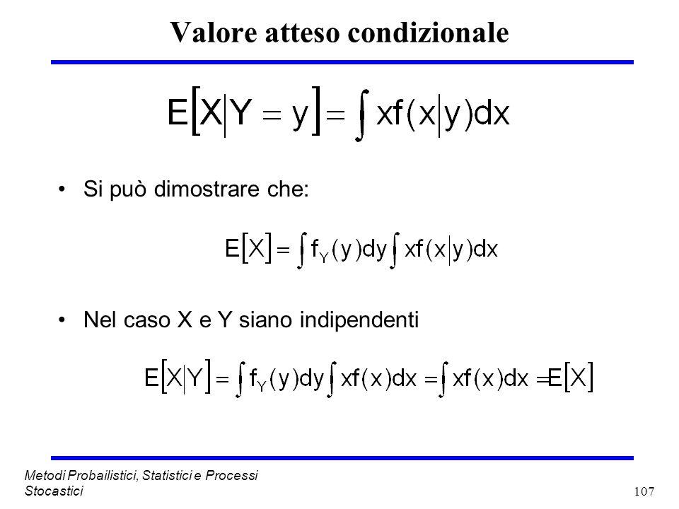 107 Metodi Probailistici, Statistici e Processi Stocastici Valore atteso condizionale Si può dimostrare che: Nel caso X e Y siano indipendenti