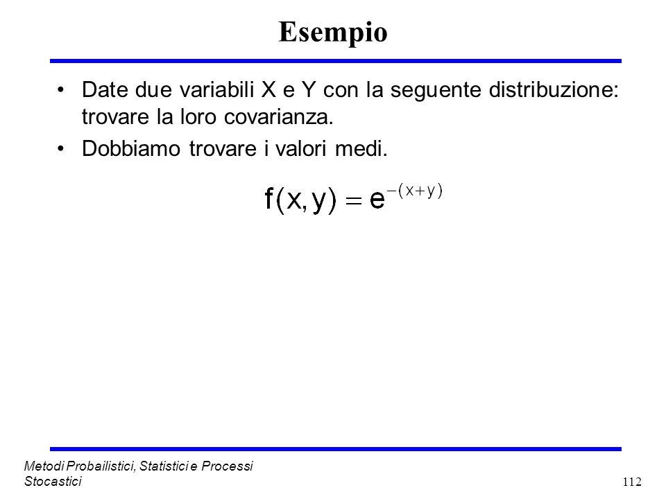 112 Metodi Probailistici, Statistici e Processi Stocastici Esempio Date due variabili X e Y con la seguente distribuzione: trovare la loro covarianza.