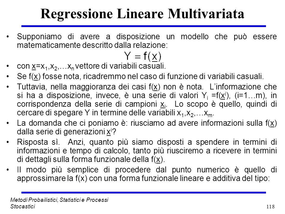 118 Metodi Probailistici, Statistici e Processi Stocastici Regressione Lineare Multivariata Supponiamo di avere a disposizione un modello che può esse