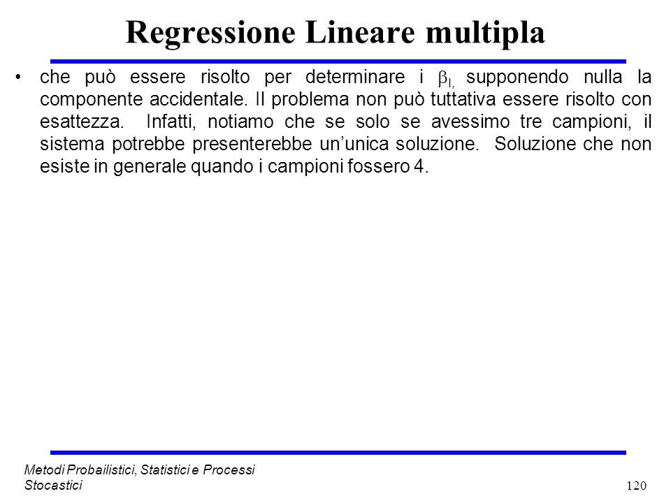 120 Metodi Probailistici, Statistici e Processi Stocastici Regressione Lineare multipla che può essere risolto per determinare i I, supponendo nulla l