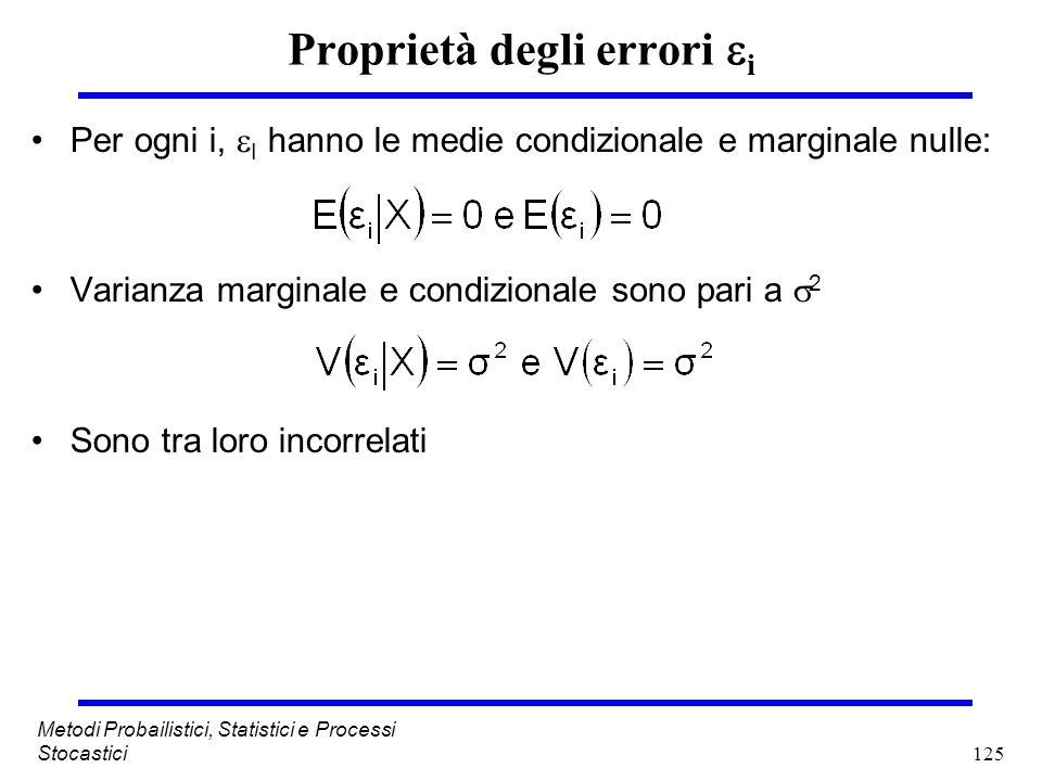 125 Metodi Probailistici, Statistici e Processi Stocastici Proprietà degli errori i Per ogni i, I hanno le medie condizionale e marginale nulle: Varia